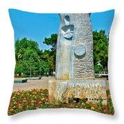 Sculpture And Flowers In Antalya Park Along Mediterranean Coast-turkey  Throw Pillow