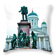 Sculpture Of Alexander II In Cathedral Of Helsinki-finland Throw Pillow