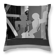 Sculpture On State Street In Black And White  Throw Pillow