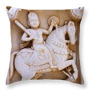 Sculpture On The Royal Cenotaphs Near Jaisalmer In India Throw Pillow