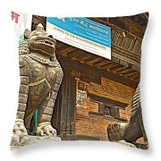 Sculptures Of Protector Figures In Front Of Sufata Buddhist College In Patan Durbar Square Throw Pillow