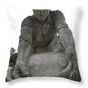 Scuplture Of Gold Rush Miner Claude Chana Throw Pillow