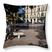 Scupture Of Picasso On The Plaza De La Throw Pillow