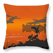 Abstract Tropical Birds Sunset Large Pop Art Nouveau Landscape 4 - Right Side Throw Pillow