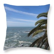 Sea And Palm Tree Throw Pillow