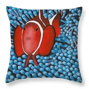 Sea Anemone With Clown Fish Throw Pillow