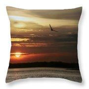 Sea Bright Sunset Throw Pillow