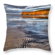 Sea Coal Saltburn Sunset Throw Pillow
