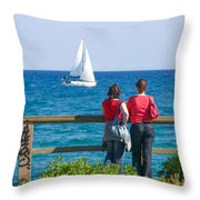The Sailboat Throw Pillow
