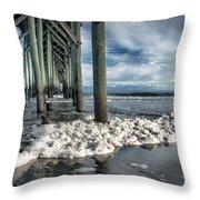 Sea Foam And Pier Throw Pillow