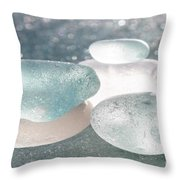 Sea Glass Aqua Shimmer Throw Pillow by Barbara McMahon