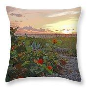 Sea Grapes And Sunset Sanibel Island Throw Pillow