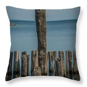 Sea Gull On A Piling Throw Pillow