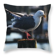 Sea Gull On Break Throw Pillow