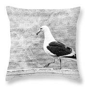 Sea Gull On Wharf Patrol Throw Pillow