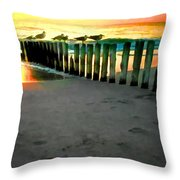 Sea Gulls On Pilings At Sunset Throw Pillow