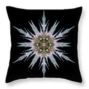 Sea Holly I Flower Mandala Throw Pillow