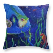 Sea Horse And Blue Fish Throw Pillow