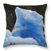 Sea Kayaking With Icebergs Tracy Arm Throw Pillow
