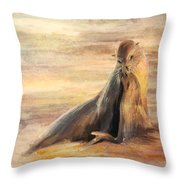 Sea Lion Mom And Pup Love On Galapagos Island Throw Pillow
