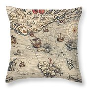 Sea Map By Olaus Magnus Throw Pillow