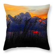 Sea Oat Sunset Throw Pillow