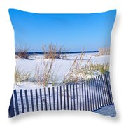 Sea Oats And Fence Along White Sand Throw Pillow