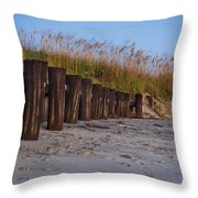 Sea Oats And Pilings Throw Pillow