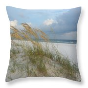 Sea Oats  Blowing In The Wind Throw Pillow