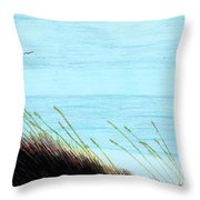 Sea Oats In The Wind Drawing Throw Pillow