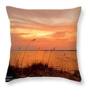 Sea Oats Sunset  Throw Pillow