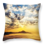 Sea Of Clouds On Sunrise With Ray Lighting Throw Pillow