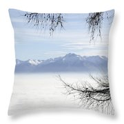 Sea Of Fog And A Tree Throw Pillow