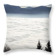 Sea Of Fog And Alps Throw Pillow