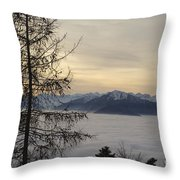 Sea Of Fog In Sunset Throw Pillow