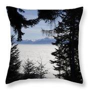 Sea Of Fog Over An Alpine Lake Throw Pillow