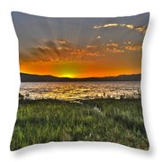 Sea Of Galilee Sunset Throw Pillow