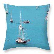Sea Of Sailboats Throw Pillow