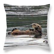 Sea Otter Profile Throw Pillow
