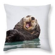 Sea Otter Scratching Head And Yawning Throw Pillow