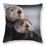 Sea Otters Huddled Together Throw Pillow