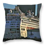 Sea Princess At Pier 29 San Francisco Throw Pillow