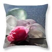 Sea Rose Throw Pillow by Barbara McMahon