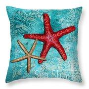 Sea Shore Original Coastal Painting Colorful Starfish Art By Megan Duncanson Throw Pillow by Megan Duncanson