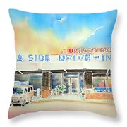 Sea Side Drive In Throw Pillow