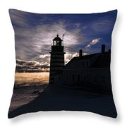 Sea Smoke At West Quoddy Head Lighthouse Throw Pillow