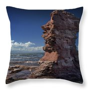 Sea Stack At North Cape On Prince Edward Island Throw Pillow