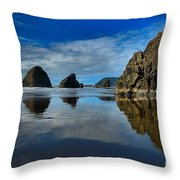 Sea Stack Blues Throw Pillow by Adam Jewell