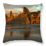 Sea Stacks And The City Throw Pillow