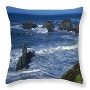 Sea Stacks Central Coast Near Rockport California Throw Pillow
